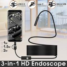 Boroscopio para cámara endoscópica de serpiente Flexible, 2m, 1m, boroscopio, lente de 5,5mm y 7mm, MircroUSB tipo C para teléfono inteligente, Android, PC y MAC