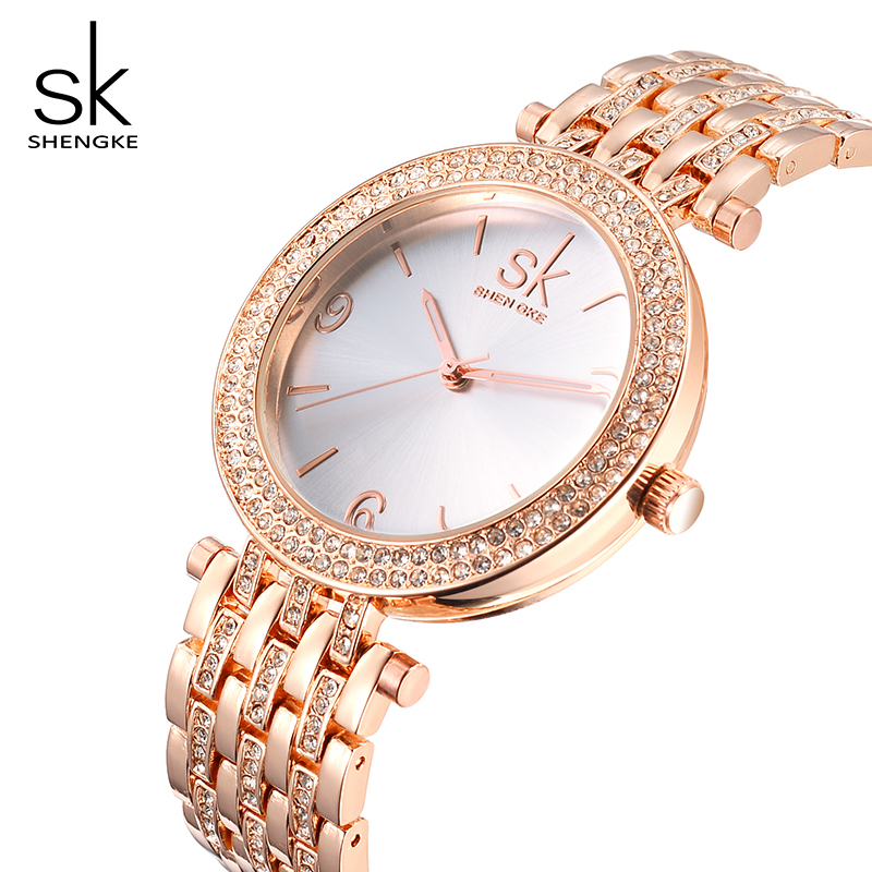 Shengke kreatywny kryształ biżuteria ustaw panie kwarcowy zegarek 2019 Reloj Mujer kobiet zegarki kolczyki naszyjnik zestaw kobiet prezent na dzień w Zegarki damskie od Zegarki na  Grupa 3