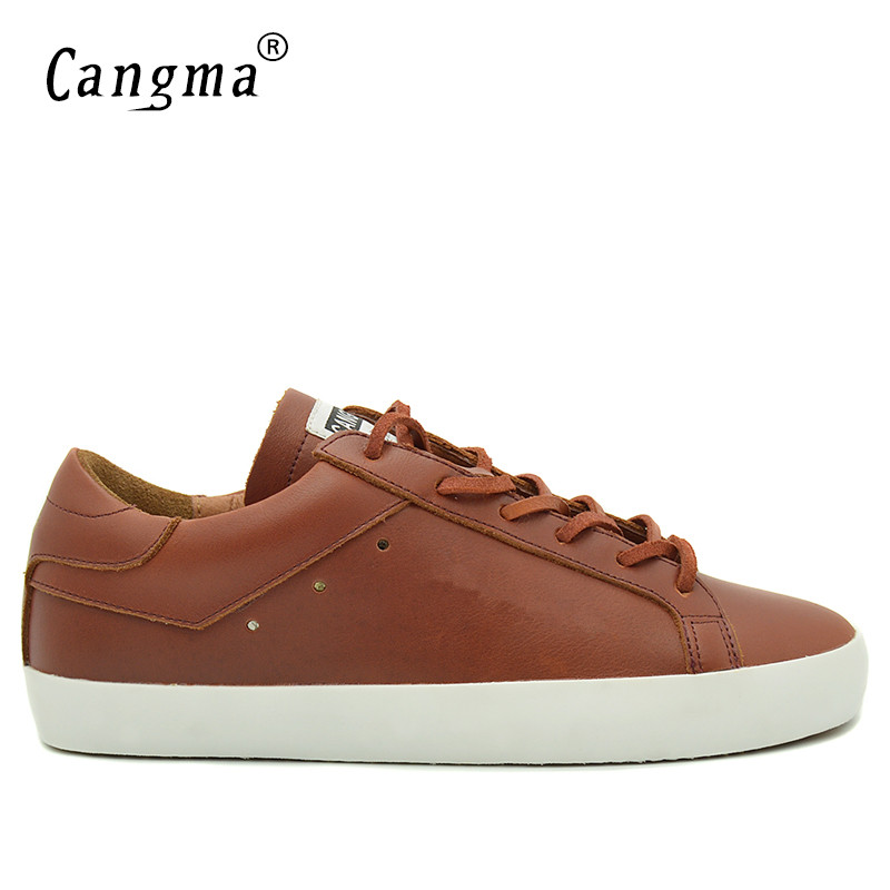 CANGMA Brand Sneakers Men Casual Shoes Handmade Genuine Leather Bass Breathable Scarpa Plus Size Man's Lace Up Brown Shoes