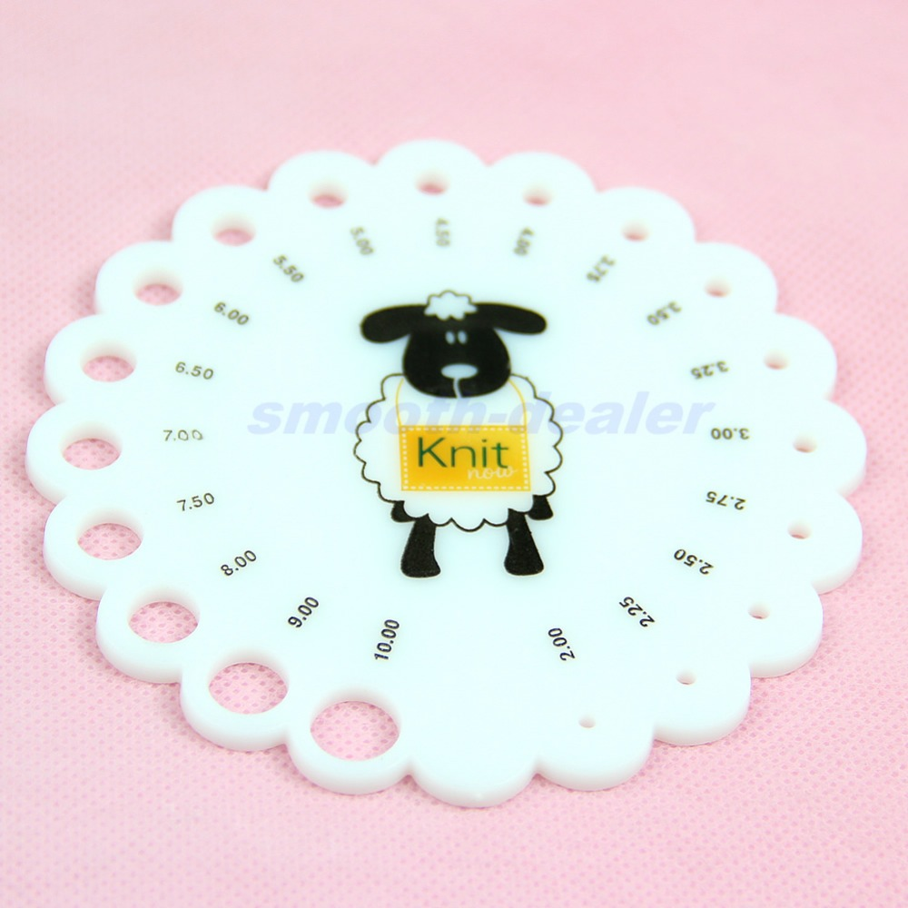 Lot Round Size 2mm -10mm Knitting Knit Needle Sizer Gauge Measure Ruler Tool