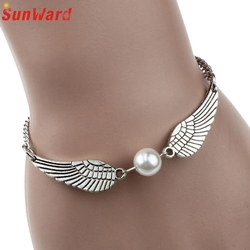Fashion jewelry retro simulated pearl angel wings charm bracelet for women delicate new arrival.jpg 250x250