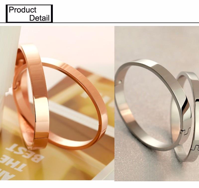 Luxury Lover Cuff Bracelets&Bangles Top Silver Color Brand Couples Simple Glaze Buckle Love Charm Bracelet For Women Or Men 11
