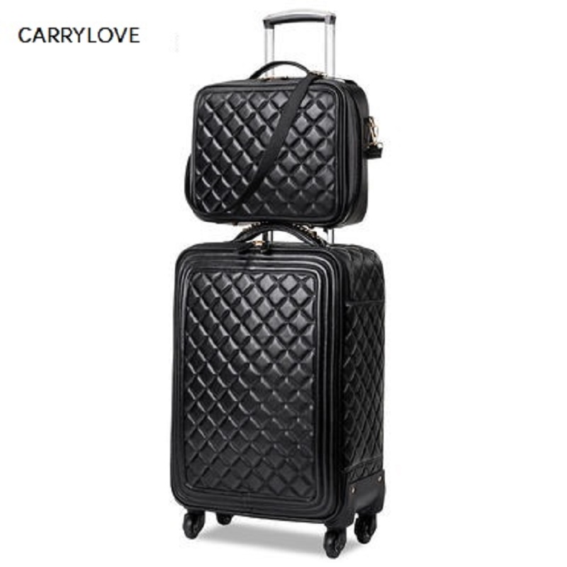 high quality fashion 16 20 24 size 100 Simulation leather Rolling Luggage Spinner brand Travel Suitcase
