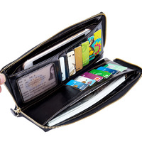 Gorgeous Design Unisex Cow Genuine Leather Business Long Wallet Multi Card Holder Credit Cards And Photos
