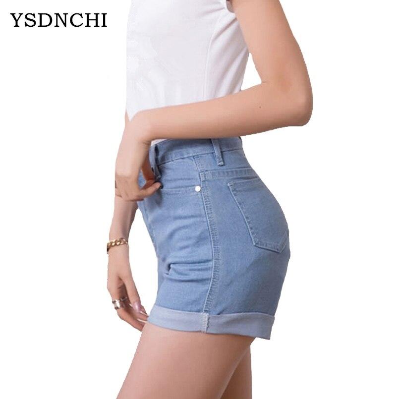 100% Wahr Ysdnchi Weibliche Hohe Taille Mini Kurze Jeans Baumwolle Dame Plus Größe Sommer Frauen Hot Shorts Stretch Denim Capri Dünne Frau Direktverkaufspreis