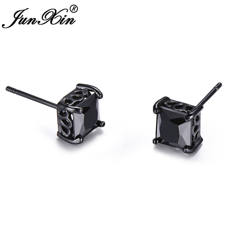 JUNXIN Classic 6MM Black Zircon Square Stud Earrings For Women Men Black Gold Filled Male Female Wedding Earrings Boho Jewelry