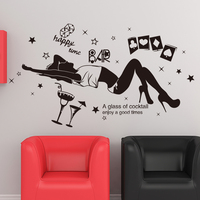 SHIJUEHEZI Customized Drunk Girl Wall Sticker Vinyl Wine Glass Mural Art Modern DIY Home Decor