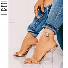 Liren Big Size 35-42 Buckle Strap Ladies Sandals Women Open Round Toe Transparent Champagne Thin Heel Shallow