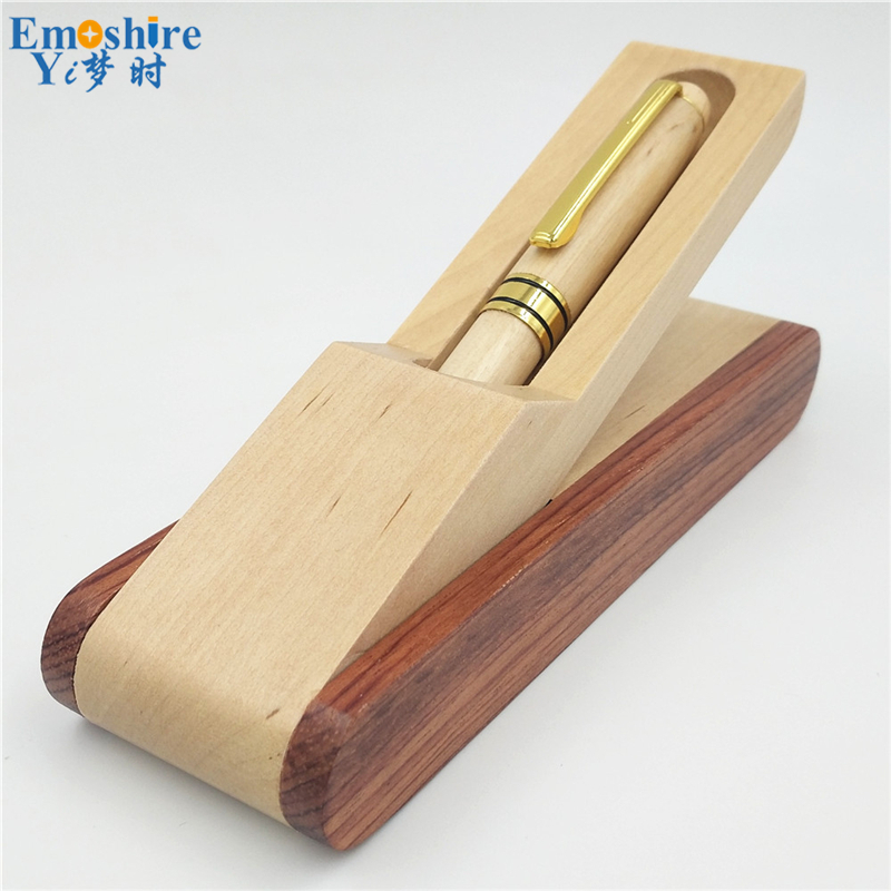 Wood Ballpoint Pen Box Brand Roller Ball Pen for Business Writing Canetas Office Supplies Gift Pencil Case Free shipping P215 free shipping wood 6051 wool multifunctional pen office pen holder notes box supplies
