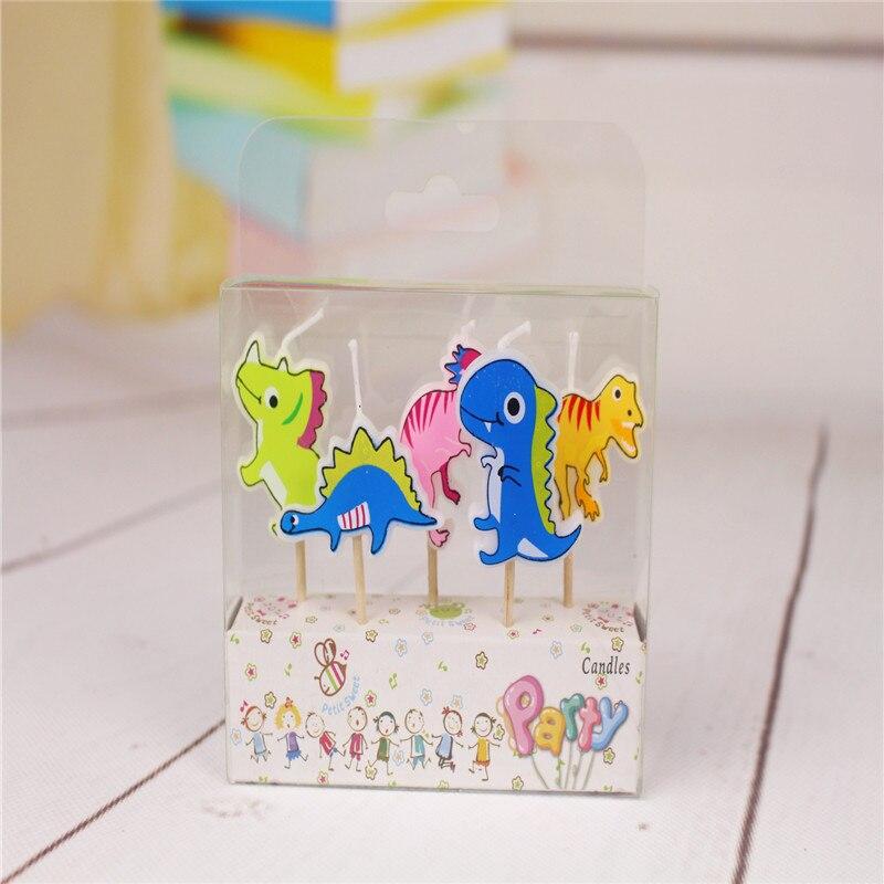 5 шт./упак. динозавров Свечи прекрасный Свечи набор детской День рождения мультфильм свеча Детская душа пользу