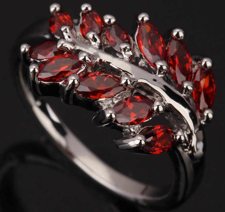 ใบสีแดงเบอร์กันดีโกเมนอัญมณีแฟชั่น925เงินสเตอร์ลิงผู้หญิงของโอกาสพรรคเครื่องประดับแหวนขนาด6 7 8 9 S0440
