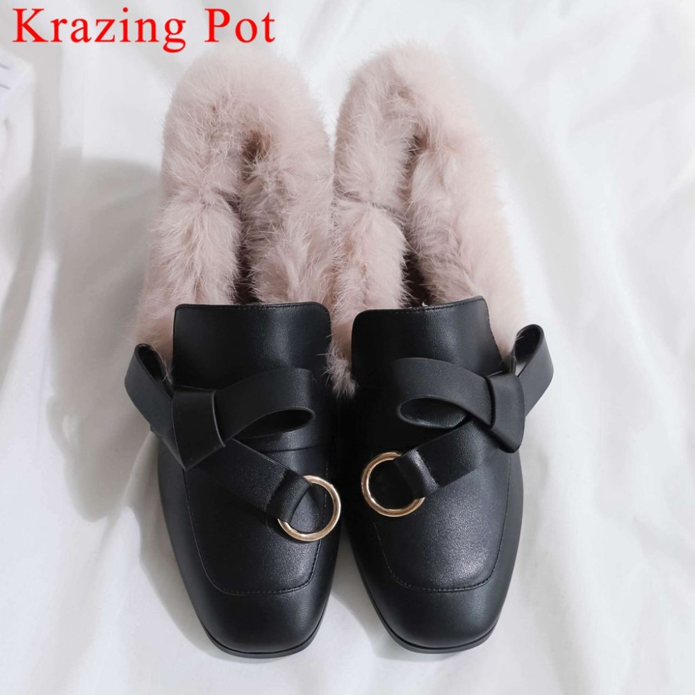 2019 handmade butterfly-knot metal decoration real fur large size med heels slip on square toe simple style artistic pumps L082019 handmade butterfly-knot metal decoration real fur large size med heels slip on square toe simple style artistic pumps L08
