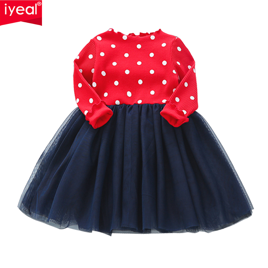 IYEAL Toddler Baby Girls Kids Knitted Tutu Dress Long Sleeve Princess Girls Clothes Spring Autumn Children Wedding Dresses 2-7Y baby girls dress 2016 autumn winter children kids clothing denim jeans long sleeve baby girls princess dress blue color for 2 7y