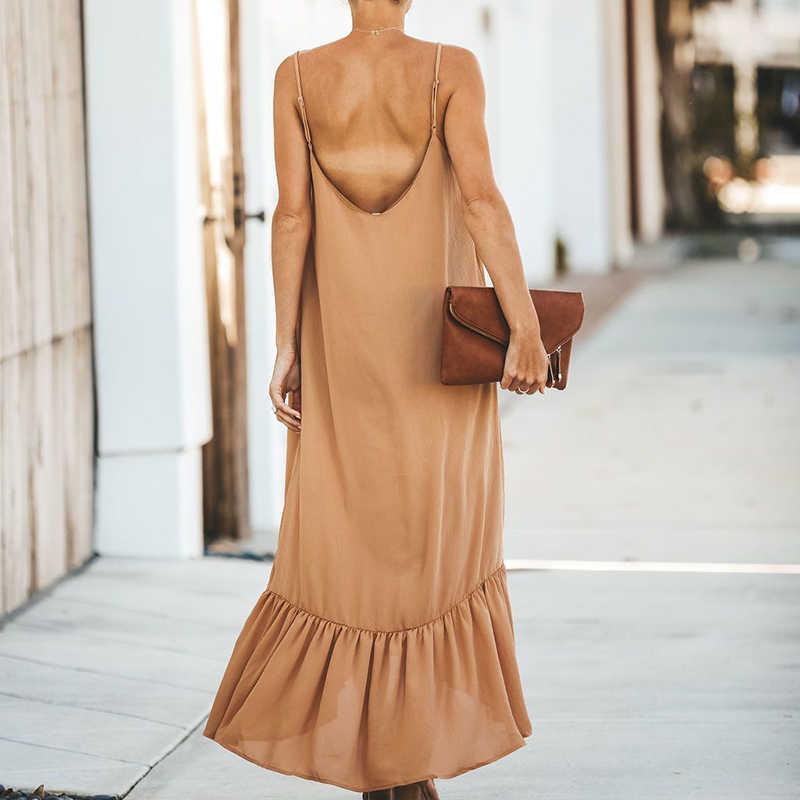 Femmes vacances robes dames nouilles sangles couleur unie Boho ruché lâche décalage Maxi robe col en v volant dos nu robe