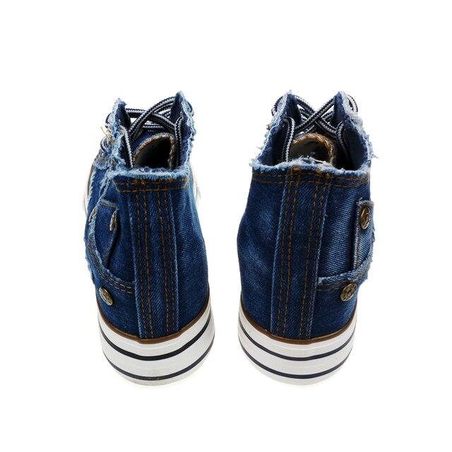 Fashion Women Denim Lace Up Platform Wedges Casual Canvas Rivet Shoes Female Hidden Heel Heigh Solid Color Low Top Leisure Shoes