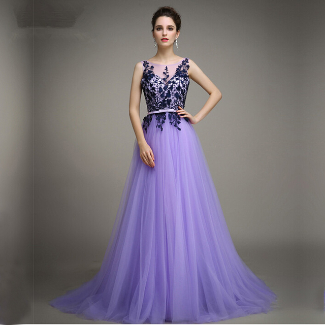 A line Bateau Sleeveless Appliques Tulle Lavender Evening Party ...