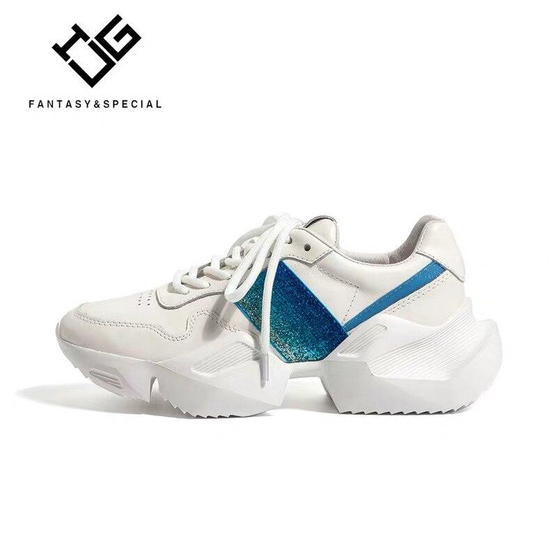 2019 Lady Décontractées Sneakers À En Épais Compensées Réel Ugi Fond Mocasines Femmes Mujer Véritable High Argent Chaussures Sequin blanc Street Cuir Semelles l1JTcFK