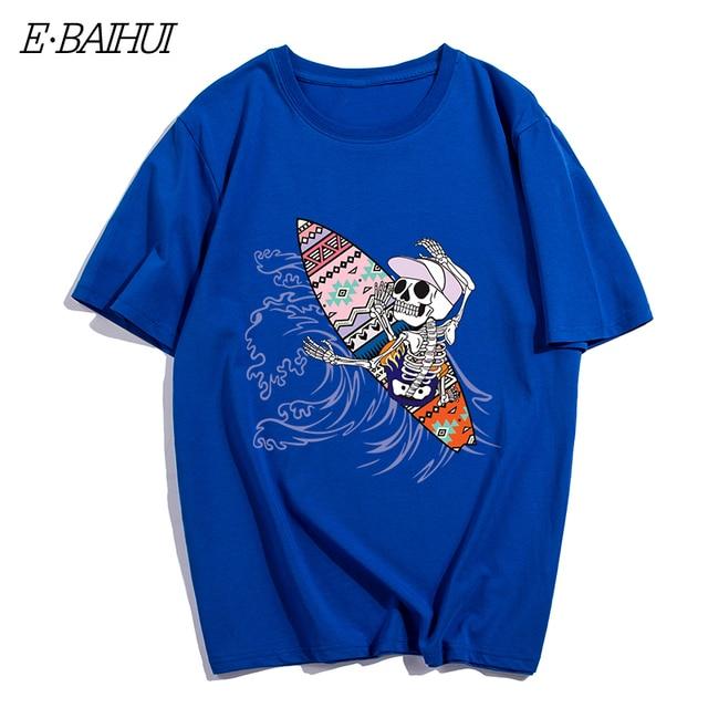 E-BAIHUI new mens t shirts de algodão Do Crânio skate 3d imprimir camiseta homens Hip Hop T-shirt Casual tops Ganhos de fitness camisetas T-152