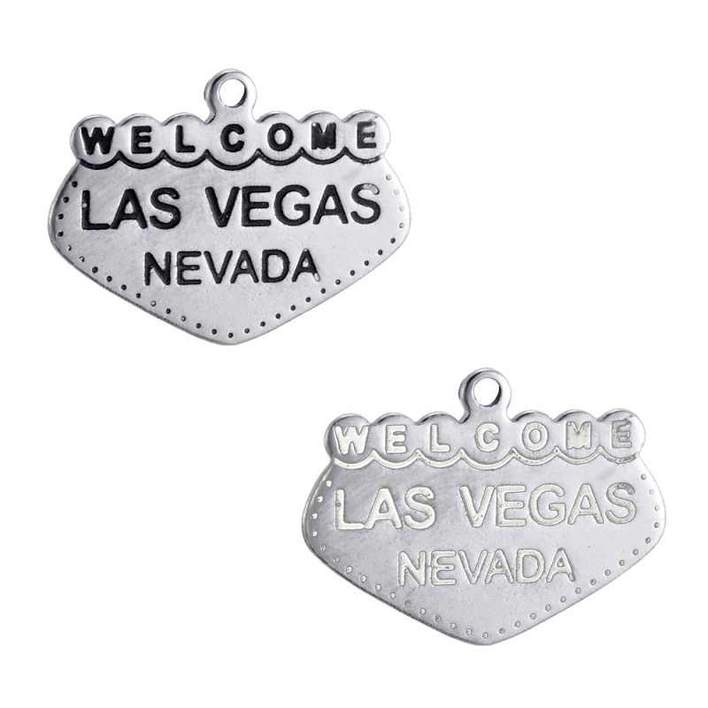 Ручная печать 3 стиля нержавеющей стали Добро пожаловать в Лас-Вегасе болтаются шармы; аксессуары DIY ювелирные изделия