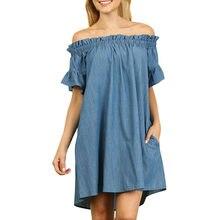 Plus Size Womens Off The Shoulder slash neck Bardot Denim Look Shirt Dress  Tops 1 wholesale  N04 79949d5a9113
