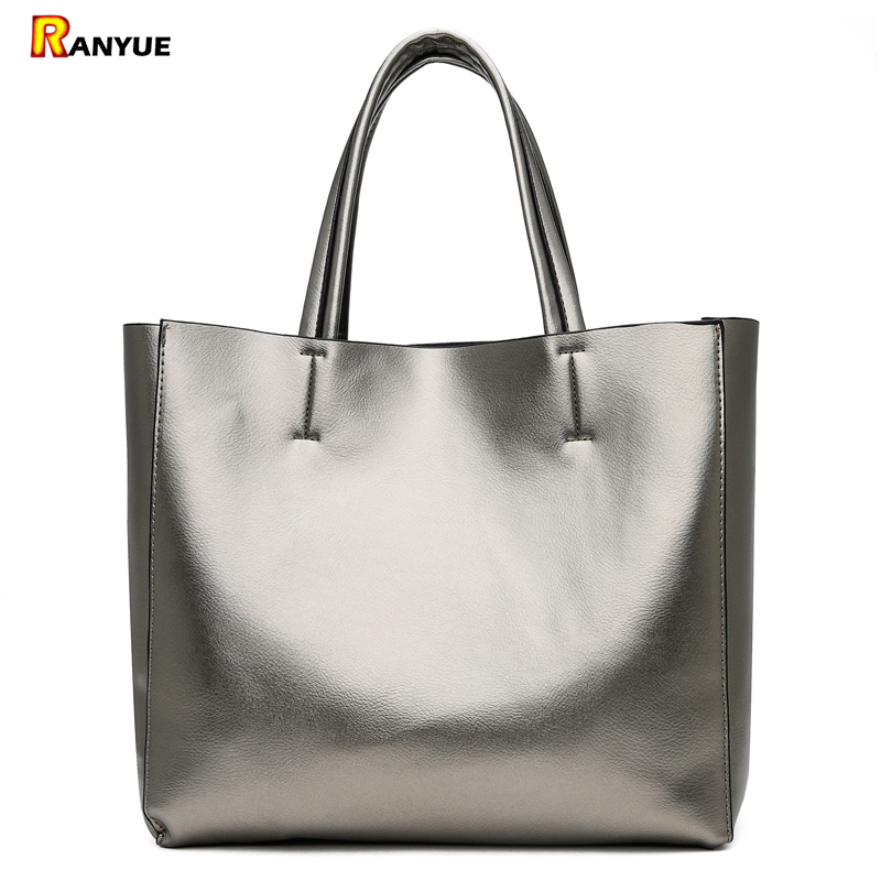Solid Large Capacity Women Bags Casual Tote Women Pu Leather Handbags Ladies Shoulder Bags Set Bolsa Feminina Black Silver Gold brand designer large capacity ladies brown black beige casual tote shoulder bag handbags for women lady female bolsa feminina page 3