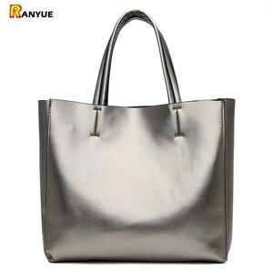 Image 1 - Solid Large Capacity Women Bags Casual Tote Women Pu Leather Handbags Ladies Shoulder Bags Set Bolsa Feminina Black Silver Gold
