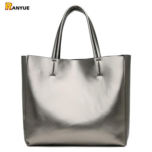 Solid Large Capacity Women Bags Casual Tote Women Pu Leather Handbags Ladies Shoulder Bags Set Bolsa Feminina Black Silver Gold