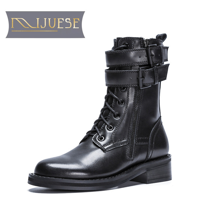 MLJUESE 2019 ผู้หญิงข้อเท้ารองเท้าหนังวัวสายคล้องคอสีดำฤดูหนาว warm fur รองเท้าส้นรองเท้าผู้หญิงขนาด 34 40-ใน รองเท้าบูทหุ้มข้อ จาก รองเท้า บน   1