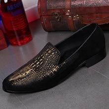 Italian Formal Men Dress Shoes for Wedding Crocodile Genuine Leather Handmade Men Loafers Smoking Slippers Slip on Men's Flats