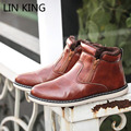 LIN KING New Brand Men Snow Boots Zipper PU Solid Round Toe Ankle Boots Warm Winter Thick Sole Flats Fashion Outdoor Male Botas