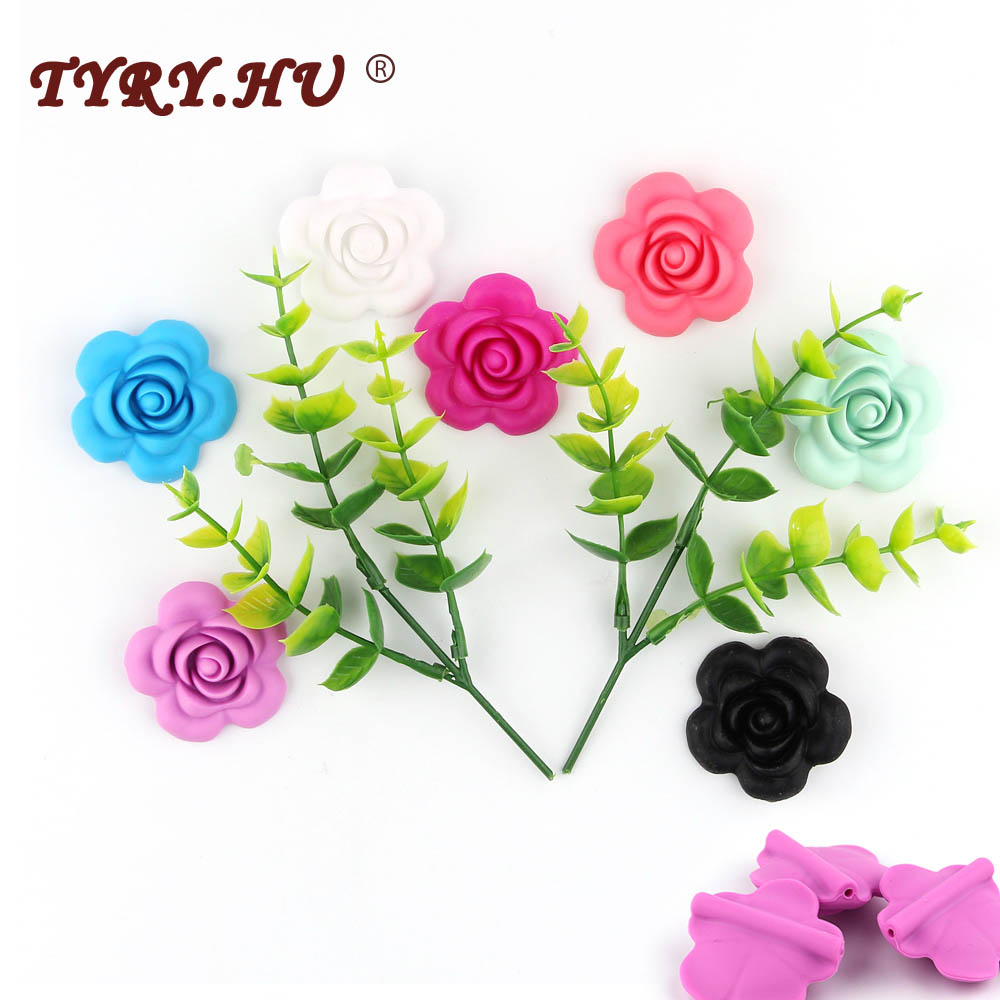 TYRY.HU 1pc Silicone Rose Beads Baby Accessories Flower Food Grade Teether DIY Nursing Jewelry Sensory Chewing Toy Baby Teether