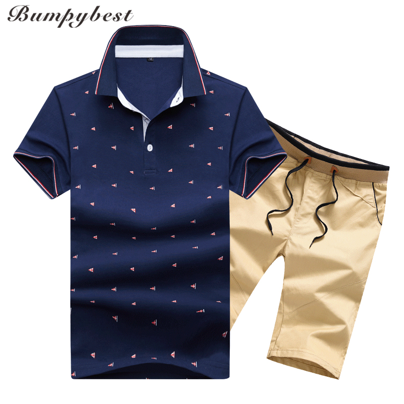 Bumpybeast Mens sportswear Clothing Casual Tracksuits Men Summer Sets Stand Collars pilka dot polo Tops Tees+Shorts Mens Set