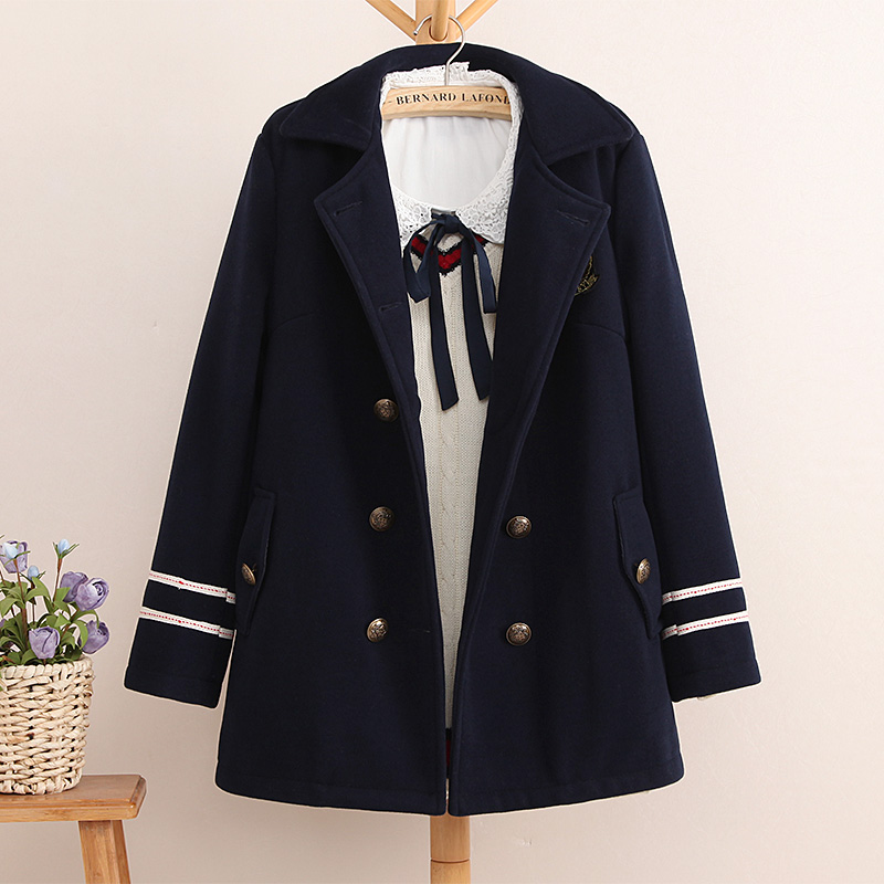 Women Double breasted navy blue preppy style woolen overcoat Embroidery women basic coats outerwear winter England