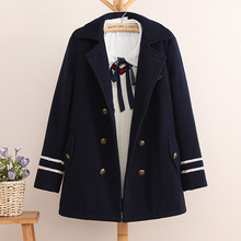 Women Double breasted navy blue preppy style woolen overcoat Embroidery women basic coats outerwear winter England Winter Jacket