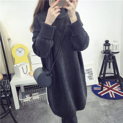 2018 new fashion Long necked jumper jacket with long loose heavy winter fur dress turtleneck thick pullovers women's sweaters