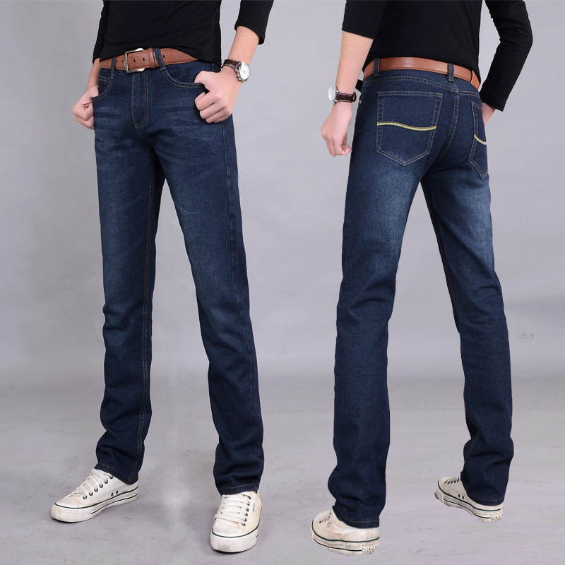 2019 Denim Long Pants Men   Jeans   Fashion Casual Cotton   Jeans   Men Mens   Jeans   Classic Retro Nostalgia Straight Denim   Jeans