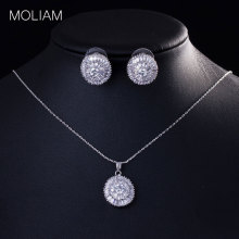 MOLIAM Luxury Brand Jewelry Sets for Womens Silver Plated Shiny Zirconia Crystal Stud Earring Necklace Set DYF028
