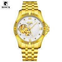 BOSCK Skeleton Automatic Men S Watch Waterproof Top Brand Men Mechanical Leather Watches Steel Strip Gold