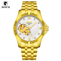 BOSCK Skeleton Automatic Men S Watch Waterproof Top Brand Men Mechanical Leather Watches Steel Strip Gold