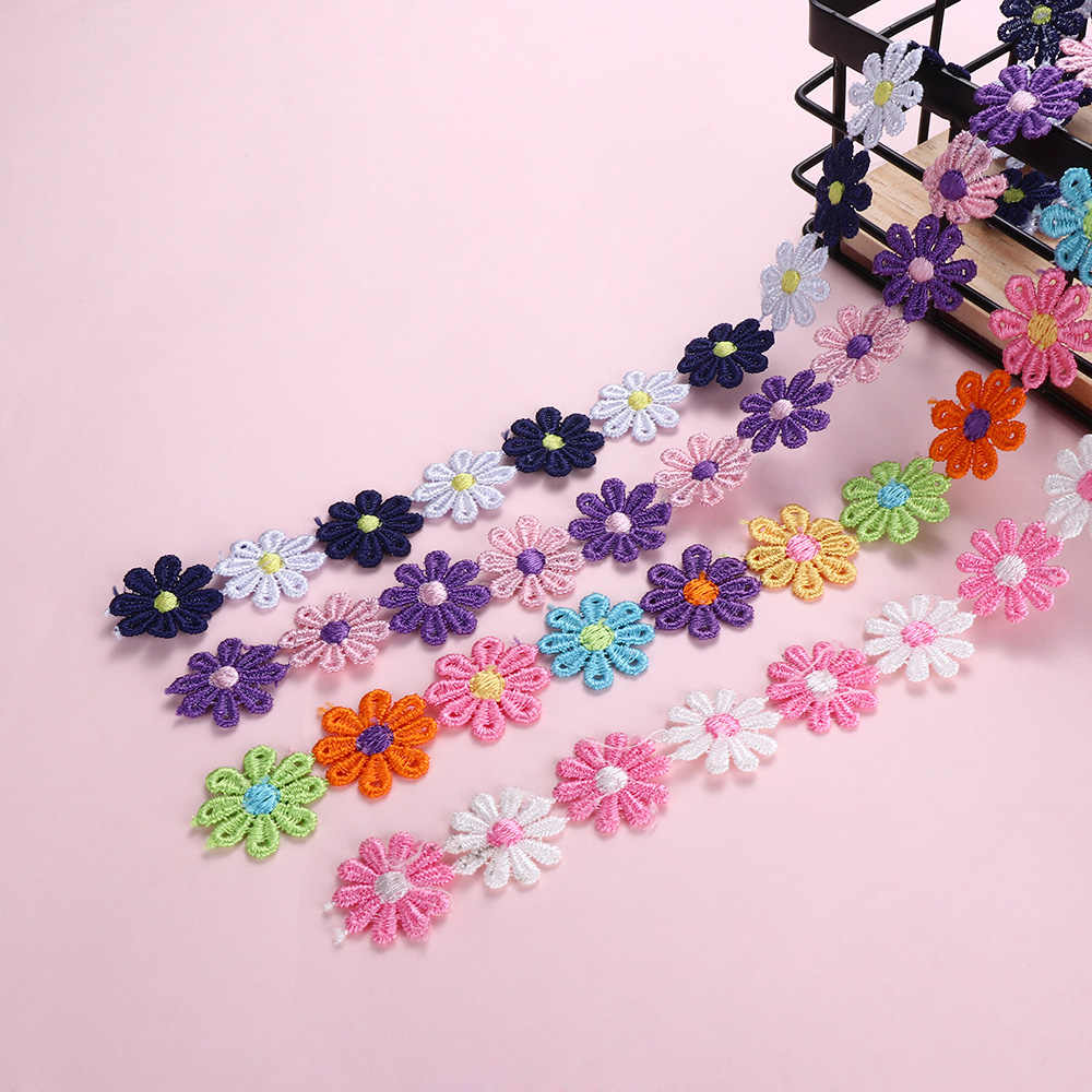 1 yarda colorida Margarita adorno de encaje floral tejer boda bordado Diy hecho a mano cinta de retazos materiales de artesanía y costura