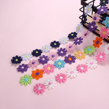 1Yard Colorful Daisy Flower Lace Trim Knitting Wedding Embroidered Diy Handmade Patchwork Ribbon Sewing Supplies Crafts