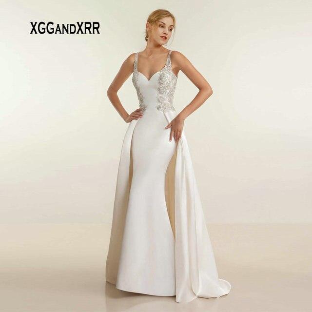 Luxury Sweetheart Mermaid Satin Long Wedding Dress 2019 Illusion Back Lace Applique Beading Flowers Straps Boho Bridal Gown