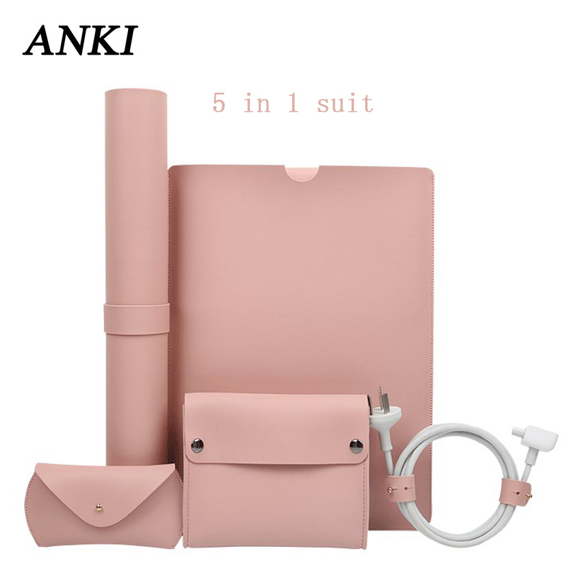5 in 1 Luxury PU Leather Notebook Bag For Macbook Pro Retina <font><b>11</b></font> 12 New 13 15 <font><b>Sleeve</b></font> <font><b>Laptop</b></font> Case For Xiaomi Air 13.3 15.6 Cover image