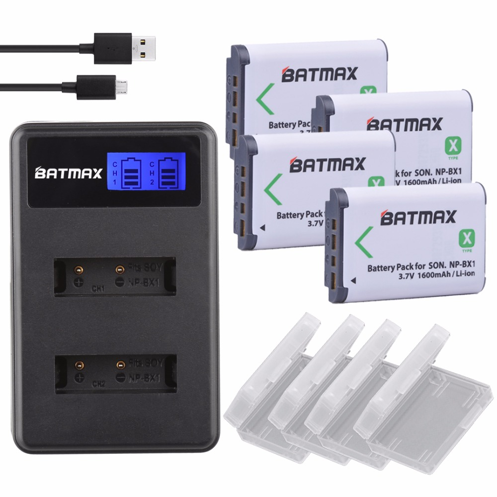 1600mAh 4Pcs NP BX1 NP-BX1 Batteries Accu + LCD Dual USB Charger For Sony DSC-RX100 DSC-WX500 IV HX300 WX300 HDR-AS15 HDR-AS300