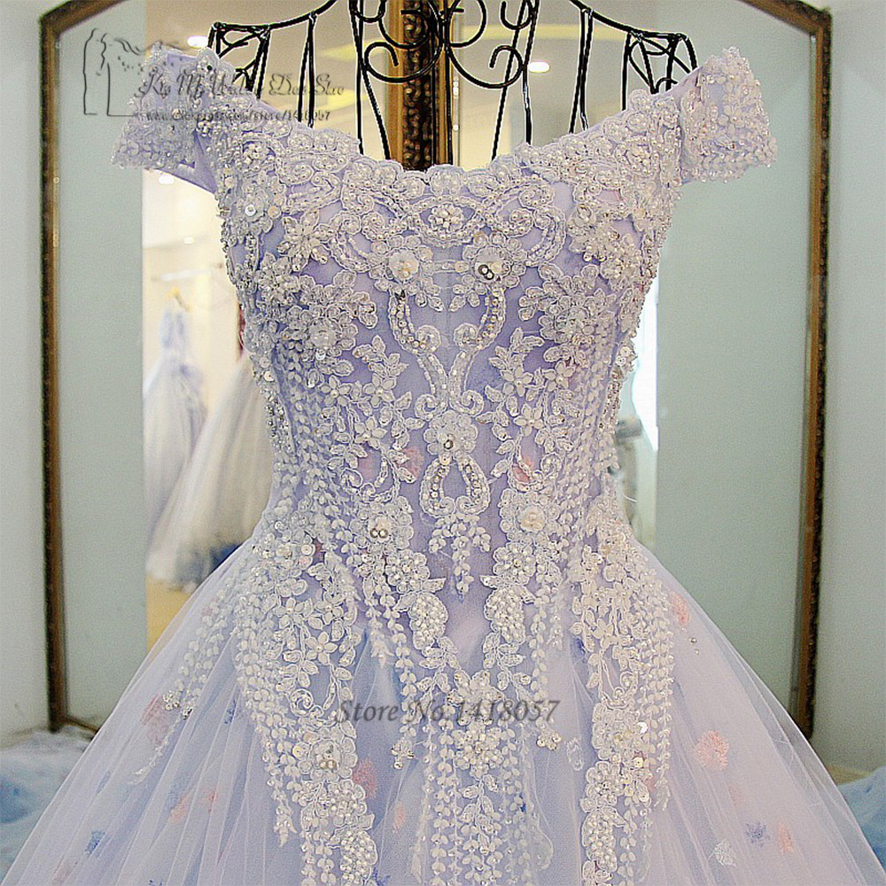 Princess Wedding Dresses Lace Pink Flowers Light Blue Wedding Gowns