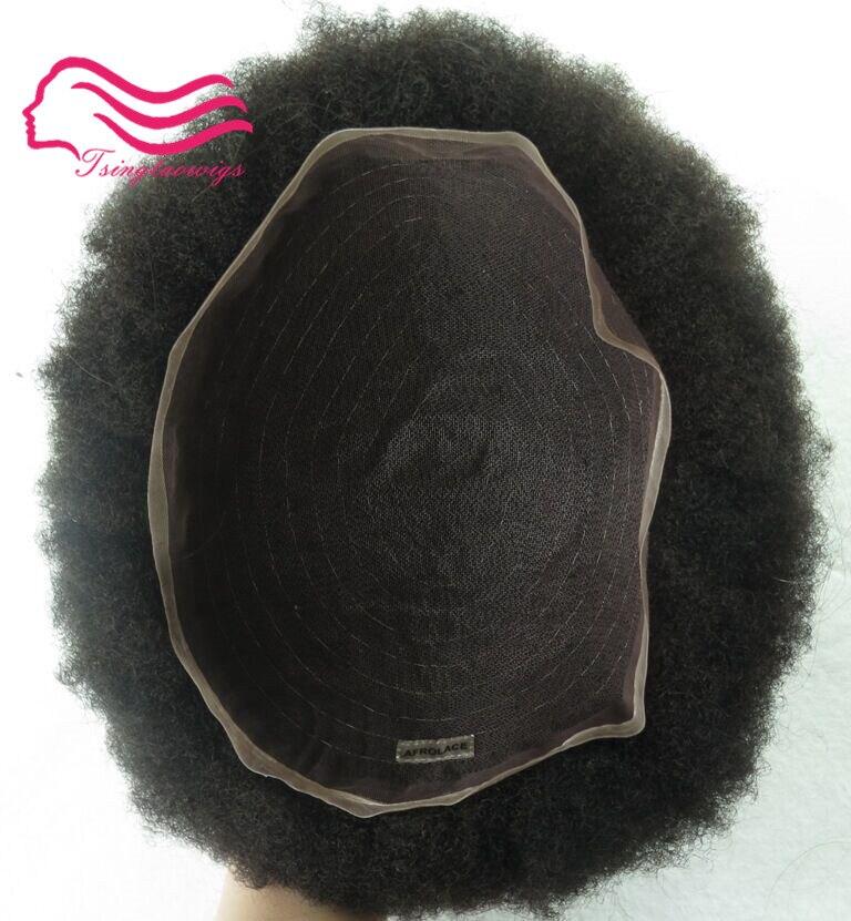 Afro crespo 1b lace Mens Peruca Afro Kinky Cabelo Encaracolado peça Homens tsingtaowigs Sistema de Cabelo pele fina frete grátis por DHL