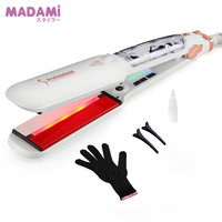 Madami Steam Wet Dry Hair Straightener Infrared Heating Flat Iron LED Display Straightening Iron 2 Inch