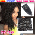 Клип в малайзии вьющихся волос 7 шт. афро кудрявый вьющиеся реми клип на weave клип в наращивание волос человека для черных женщины
