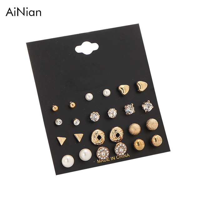 92f8e6607 AiNian 12 Pairs Sets Round Square Ball Alloy Crystal Stud Pearl Earrings  For Women Hot-