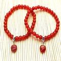 Pedra e Bracelete de cristal vermelho Pingente de ágata 6mm cornalina novo Estilo ove Elástico pulseira cor agradável fishon jóias